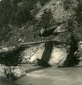 Caucasus Mountain Georgia Military Road Bridge Teberda Photo Stereoview NPG 1906