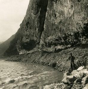 Caucase Transcaucasie Route militaire de Georgie vallée du Terek Ancienne Photo Stereo NPG 1906