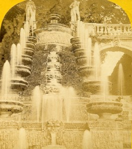 France Saint Cloud Fountain Grandes Eaux Paris Instantané Photo Stereoview 1860
