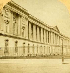 France Paris Louvre Palace Façade Old Photo Stereoview 1858