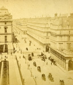 France Paris Busy Rue de Rivoli Old Photo Stereoview 1870