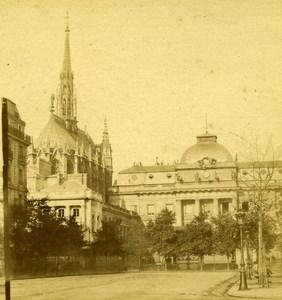 France Paris Sainte-Chapelle & Palais de Justice Old Photo Stereoview 1870