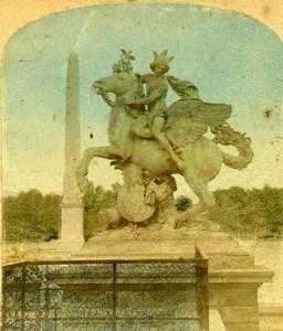 France Paris Tuileries Garden Mercure Statue Old Photo Stereoview 1860