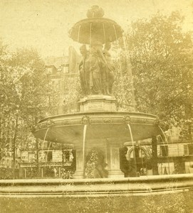 France Paris Fontaine Louvois Fountain Old Photo Stereoview 1860