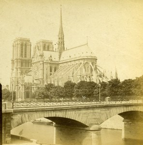 France Notre-Dame de Paris Cathedral Old Hautecoeur Photo Stereoview 1870