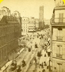 France Paris Busy Rue de Rivoli Old Hippolyte Jouvin Photo Stereoview 1860