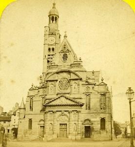 France Paris Saint Etienne du Mont Church Old Hautecoeur Photo Stereoview 1870