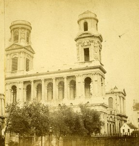 France Paris Eglise Saint Sulpice Church Old Hautecoeur Photo Stereoview 1870