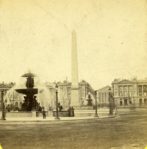 France Paris Place de la Concorde Old Photo Stereoview 1860