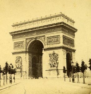 France Paris Place de l Etoile Arc de Triomphe Old Photo Stereoview 1860