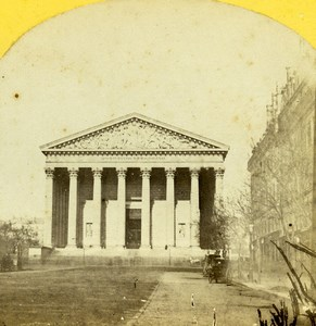 France Paris Eglise de la Madeleine Church Old Photo Stereoview 1859