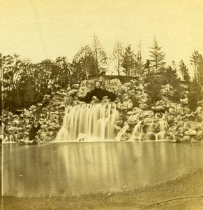 France Paris Bois de Boulogne Waterfall Old Photo Stereoview 1870