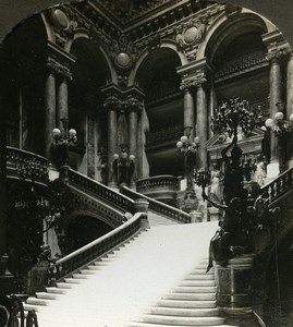 France Paris Opera Grand Stairway Escalier Old William Rau Photo Stereoview 1900