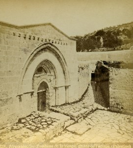 Israel Palestine Jerusalem Tomb of the Virgin Mary Old Photo Stereoview 1875