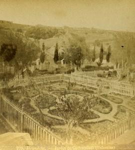 Israel Palestine Jerusalem Gethsemane Garden Old Photo Stereoview 1875