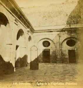 Israel Palestine Jerusalem Church of the Flagellation Old Photo Stereoview 1875