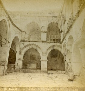 Israel Palestine Jerusalem House of Caiaphas interior Old Photo Stereoview 1875