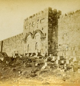 Israel Palestine Jerusalem Golden Gate Sha'ar HaRachamim Photo Stereoview 1875