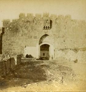 Israel Palestine Jerusalem Lions' Gate Sha'ar ha-Arayot Photo Stereoview 1875