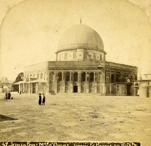Israel Palestine Jerusalem Ayyubid Mosque of Omar Old Photo Stereoview 1875
