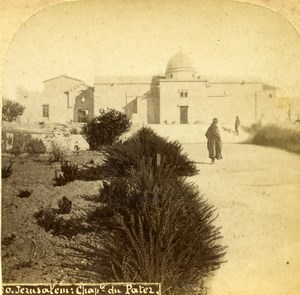 Israel Palestine Jerusalem Church of the Pater Noster Old Photo Stereoview 1875