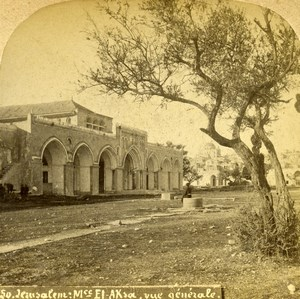 Israel Palestine Jerusalem Al-Aqsa Mosque Old Photo Stereoview 1875