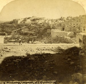 Palestine Bethlehem & Convent General View Old Photo Stereoview 1875