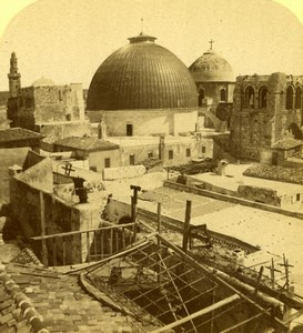 Israel Jerusalem Domes of the Holy Sepulchre Old Photo Stereoview 1880