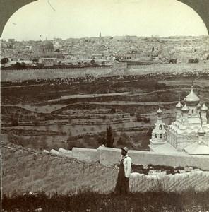 Israel Palestine Jerusalem from Mount of Olives Old Rau Photo Stereoview 1903
