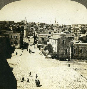 Palestine Bethlehem General View Old Geo Griffith Photo Stereoview 1905