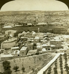 Israel Palestine Jerusalem Panorama Old Photo Stereoview 1908