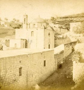 Israel Nazareth Chapel Mensa Christi Church Old Photo Stereoview 1875