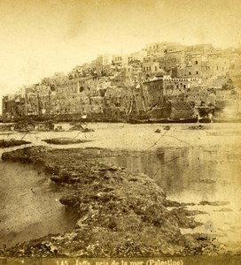 Israel Palestine Jaffa Yafo taken by Sea Old Photo Stereoview 1875