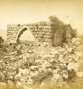 Israel Galilee Mount Tabor Transfiguration Ruins Old Photo Stereoview 1875
