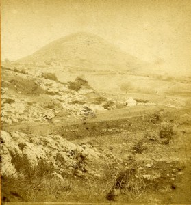 Israel Galilee Mount Tabor Transfiguration Old Photo Stereoview 1875