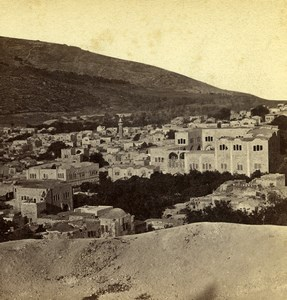 Palestine Nablus Panorama Mount Ebal Neapolis Old Photo Stereoview Bonfils 1880
