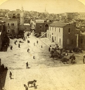 Palestine West Bank Bethlehem Street Scene Old Jarvis Photo Stereoview 1896
