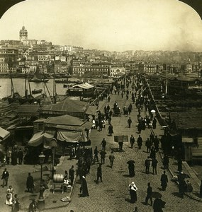 Turkey Constantinople Bridge Galata to Istanbul HC White Photo Stereoview 1901