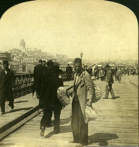 Turkey Constantinople Bridge of Galata Old HC White Photo Stereoview 1901