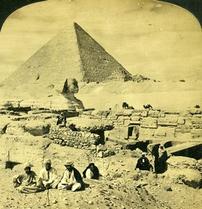 Egypt Great Sphinx of Giza & Great Pyramid Old H.C. White Photo Stereoview 1908