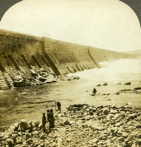 Egypt Aswan Great Nile Barrage Dam Old William Rau Photo Stereoview 1903
