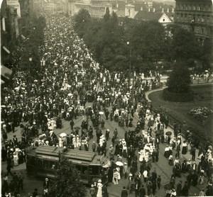 Poland Warsaw Krakowskie Przedmiescie Catholic Procession Stereoview Photo NPG