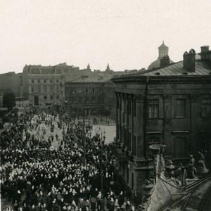 Poland Warsaw Krakowskie Przedmiescie Procession Old Stereoview Photo NPG 1905