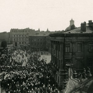 Pologne Varsovie Warszawa Faubourg de Cracovie Procession Catholique Ancienne Photo Stereo NPG 1905
