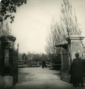 Poland Warsaw Warszawa Entry of Park Ujasdow Old Stereoview Photo NPG 1905