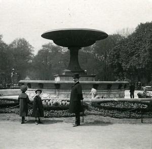 Poland Warsaw Warszawa Saxon Garden Fountain Old Stereoview Photo NPG 1905