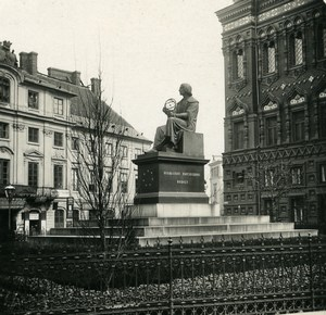 Poland Warsaw Warszawa Copernic Monument Old Stereoview Photo NPG 1905