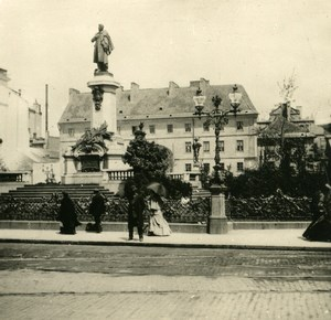 Poland Warsaw Warszawa Mickiewicz Monument Old Stereoview Photo NPG 1905