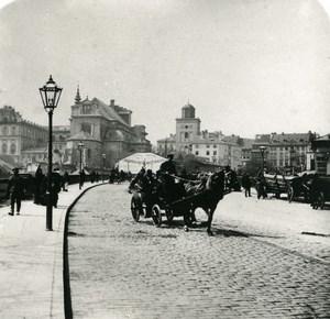 Poland Warsaw Warszawa Avenue Horse Cart Old Stereoview Photo NPG 1905
