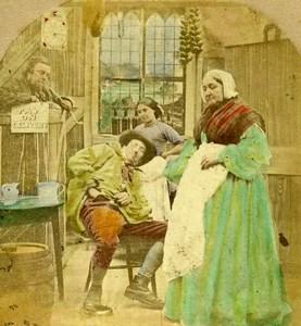 United Kingdom Money Scarce Scene de Genre Old Stereo Photo hand colored 1865